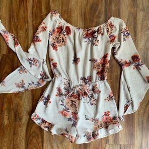 Dresses & Skirts - Off Shoulder Boho Chic Floral Romper.